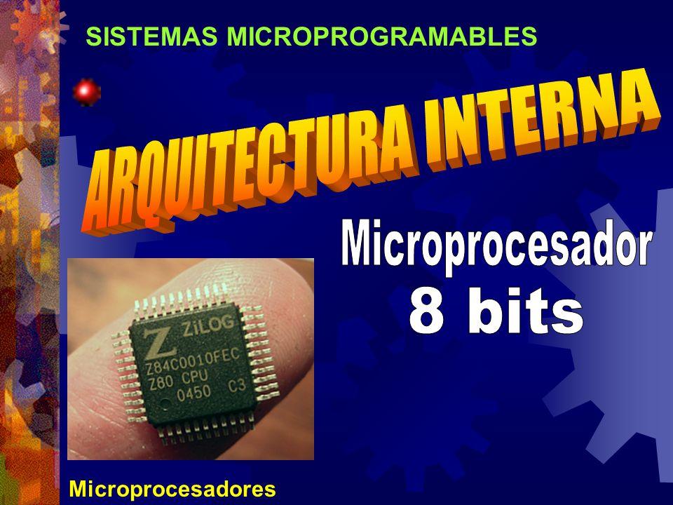 ARQUITECTURA INTERNA Microprocesador 8 bits SISTEMAS MICROPROGRAMABLES