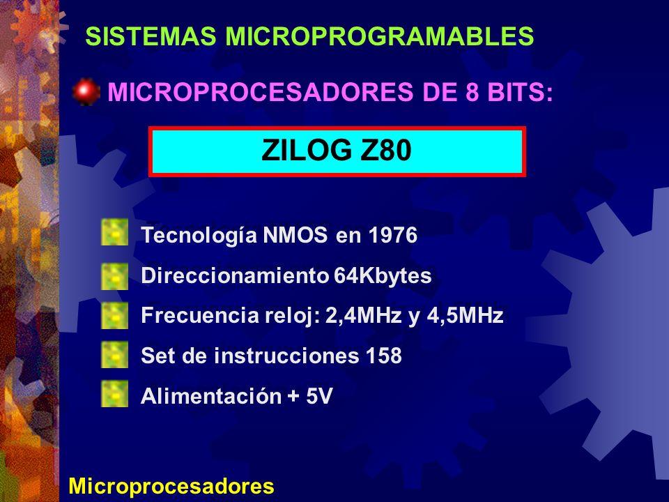 ZILOG Z80 SISTEMAS MICROPROGRAMABLES MICROPROCESADORES DE 8 BITS: