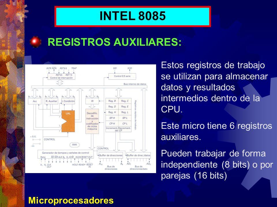 INTEL 8085 REGISTROS AUXILIARES: