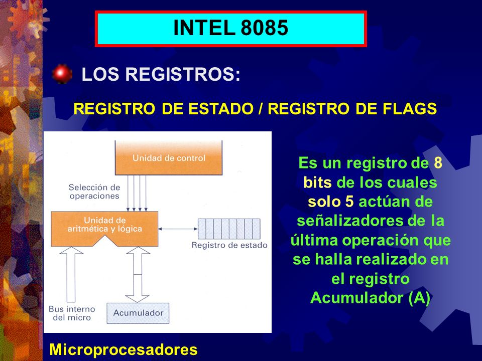 INTEL 8085 LOS REGISTROS: REGISTRO DE ESTADO / REGISTRO DE FLAGS