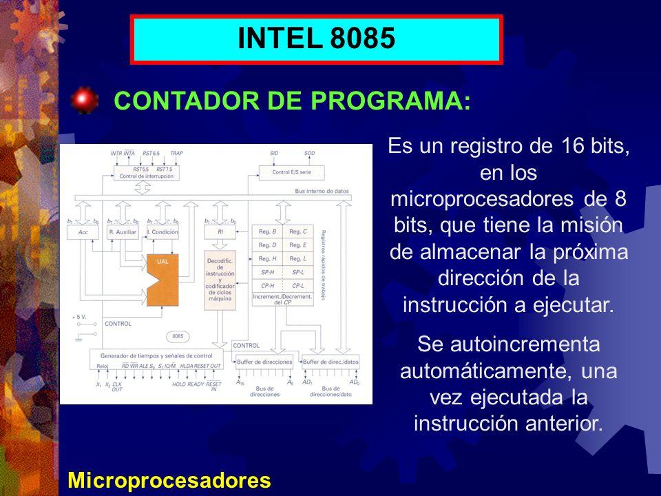 INTEL 8085 CONTADOR DE PROGRAMA: