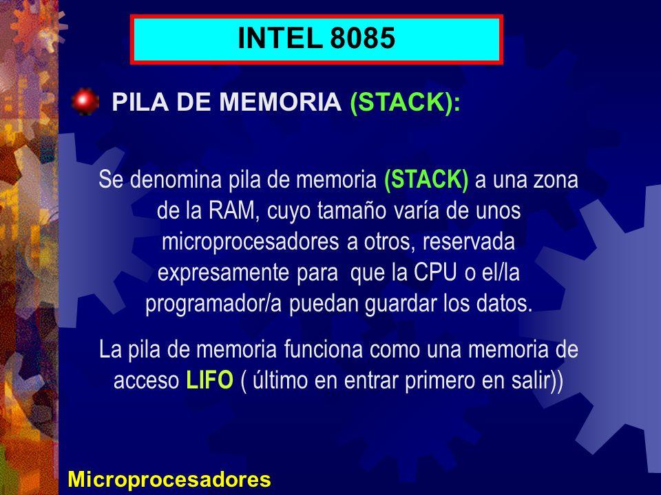 INTEL 8085 PILA DE MEMORIA (STACK):