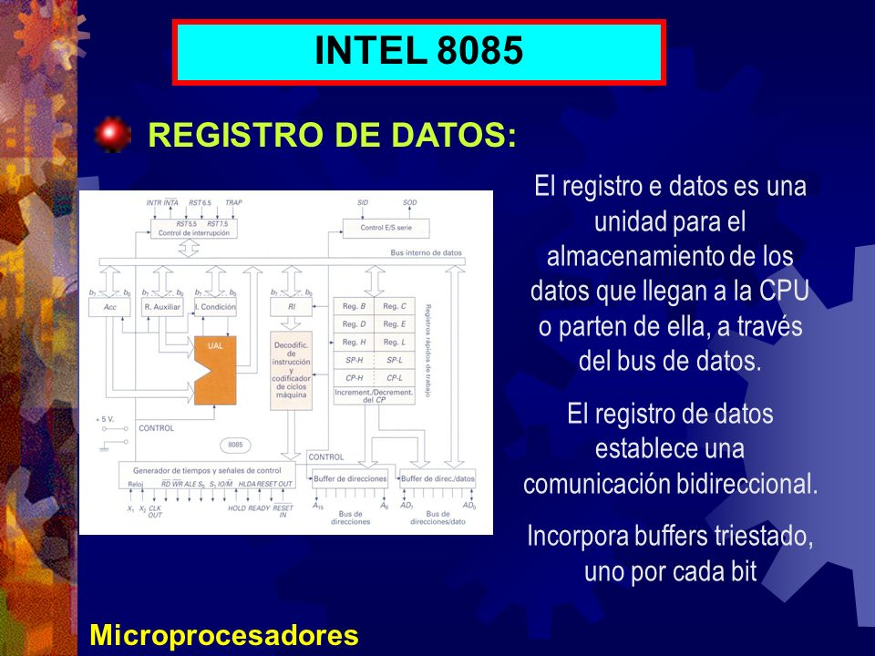 INTEL 8085 REGISTRO DE DATOS: