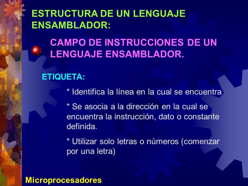 ESTRUCTURA DE UN LENGUAJE ENSAMBLADOR:
