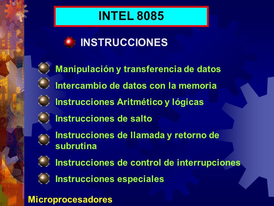 INTEL 8085 INSTRUCCIONES Manipulación y transferencia de datos