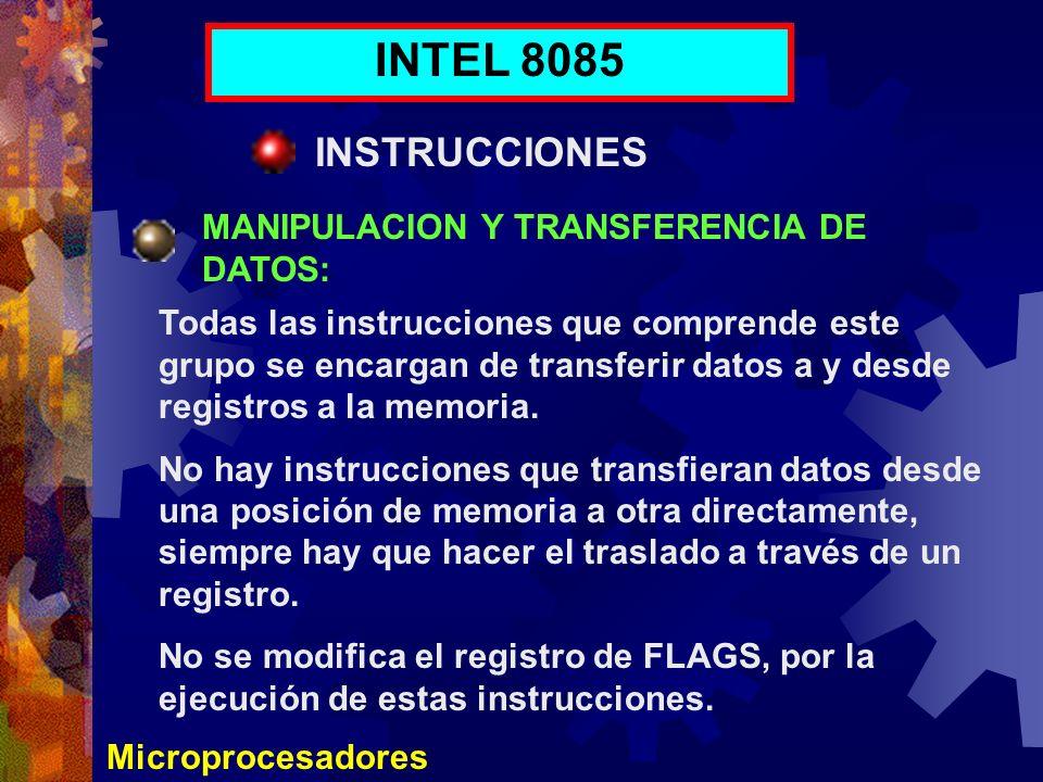 INTEL 8085 INSTRUCCIONES MANIPULACION Y TRANSFERENCIA DE DATOS: