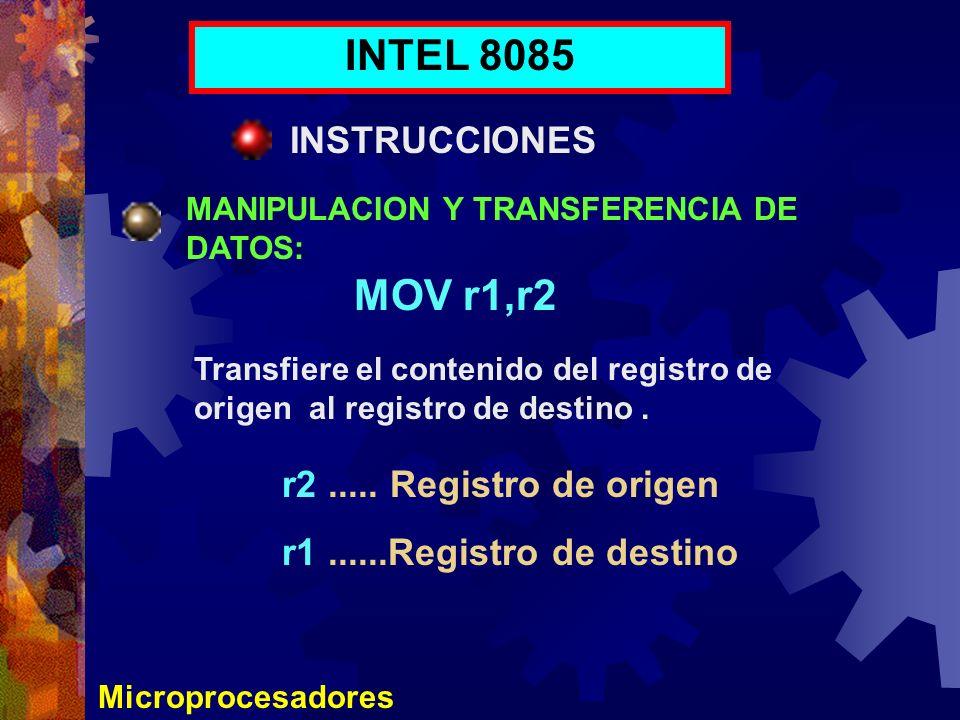 INTEL 8085 MOV r1,r2 INSTRUCCIONES r2 ..... Registro de origen