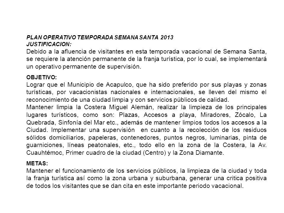 PLAN OPERATIVO TEMPORADA SEMANA SANTA 2013