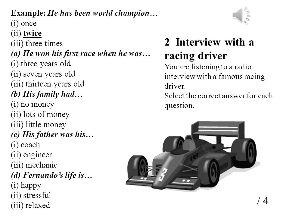 2 Interview with a racing driver
