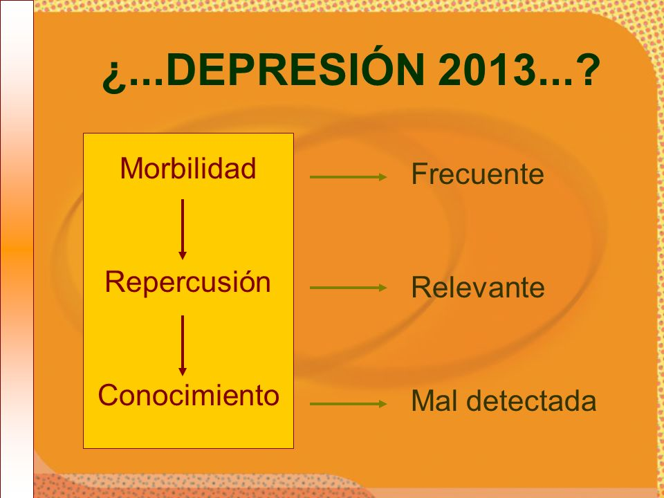 ¿...DEPRESIÓN 2013... Morbilidad Frecuente Repercusión Relevante