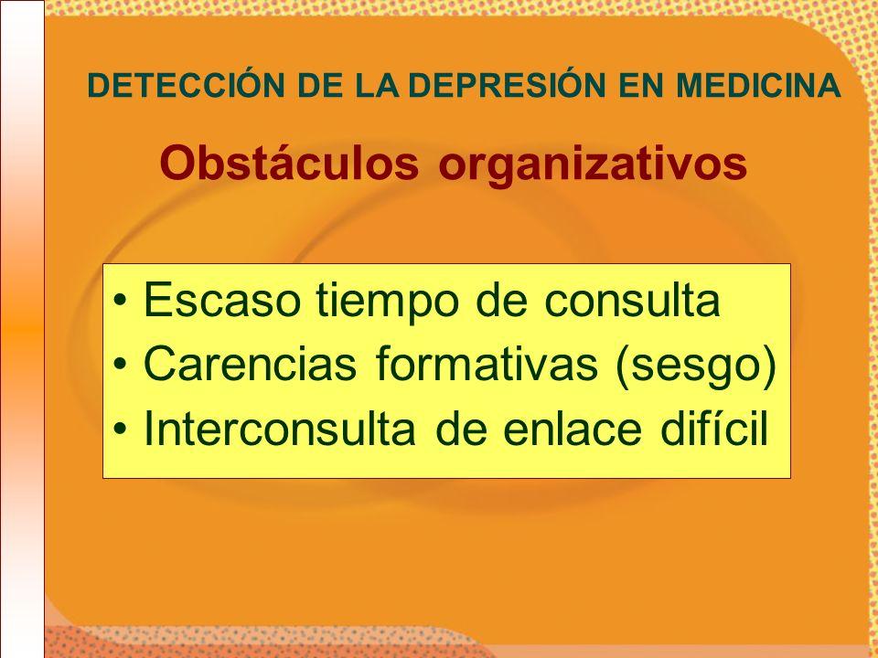 DETECCIÓN DE LA DEPRESIÓN EN MEDICINA Obstáculos organizativos