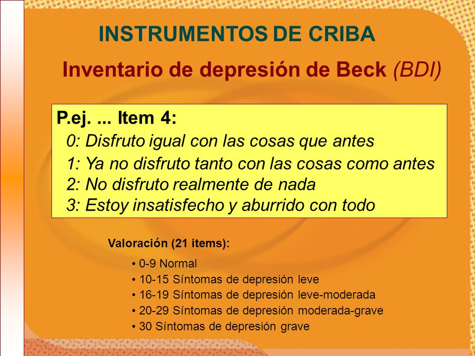Inventario de depresión de Beck (BDI)