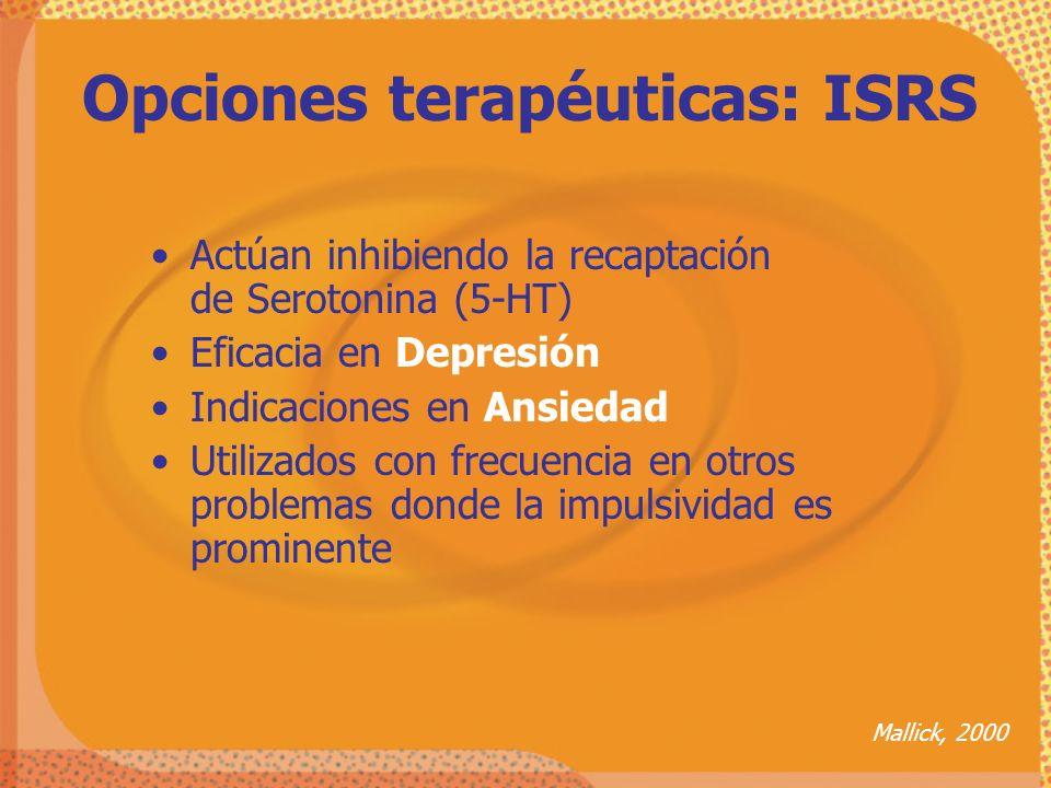 Opciones terapéuticas: ISRS