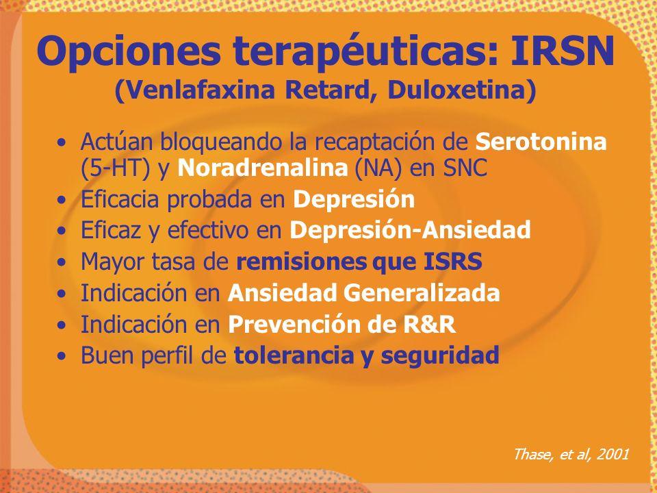 Opciones terapéuticas: IRSN (Venlafaxina Retard, Duloxetina)
