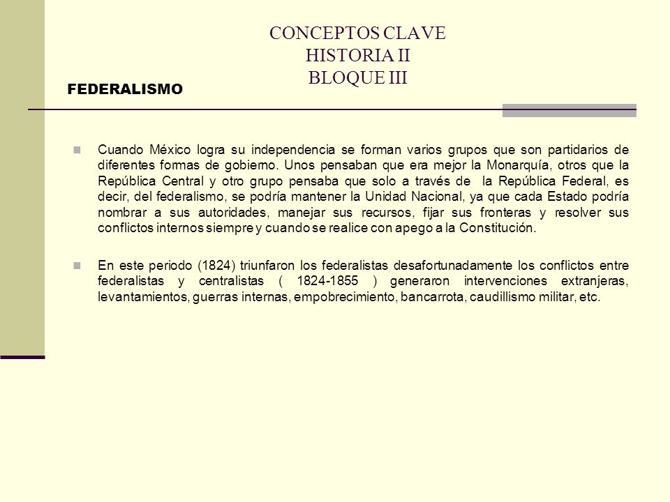 CONCEPTOS CLAVE HISTORIA II BLOQUE III