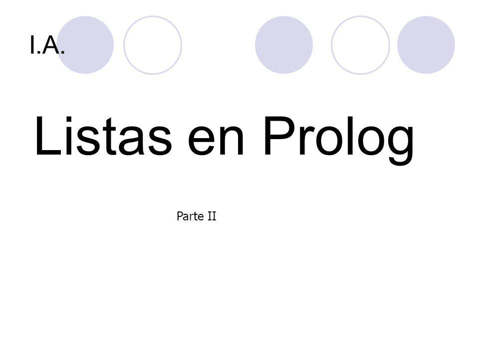 I.A. Listas en Prolog Parte II