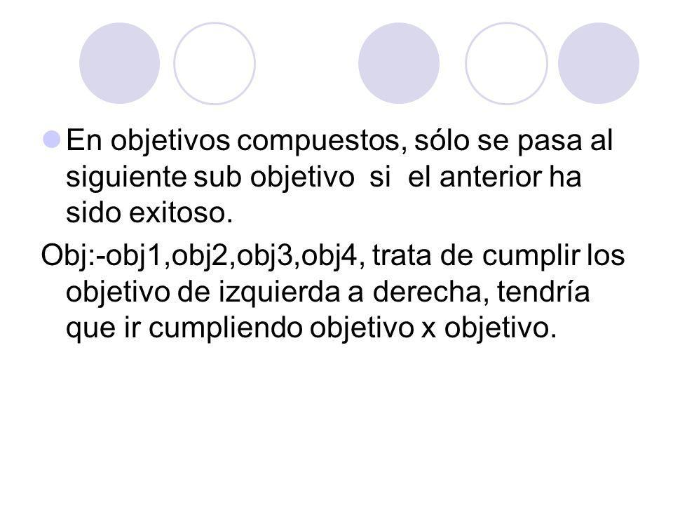 En objetivos compuestos, sólo se pasa al siguiente sub objetivo si el anterior ha sido exitoso.