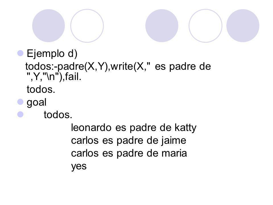Ejemplo d) todos:-padre(X,Y),write(X, es padre de ,Y, \n ),fail. todos. goal. leonardo es padre de katty.