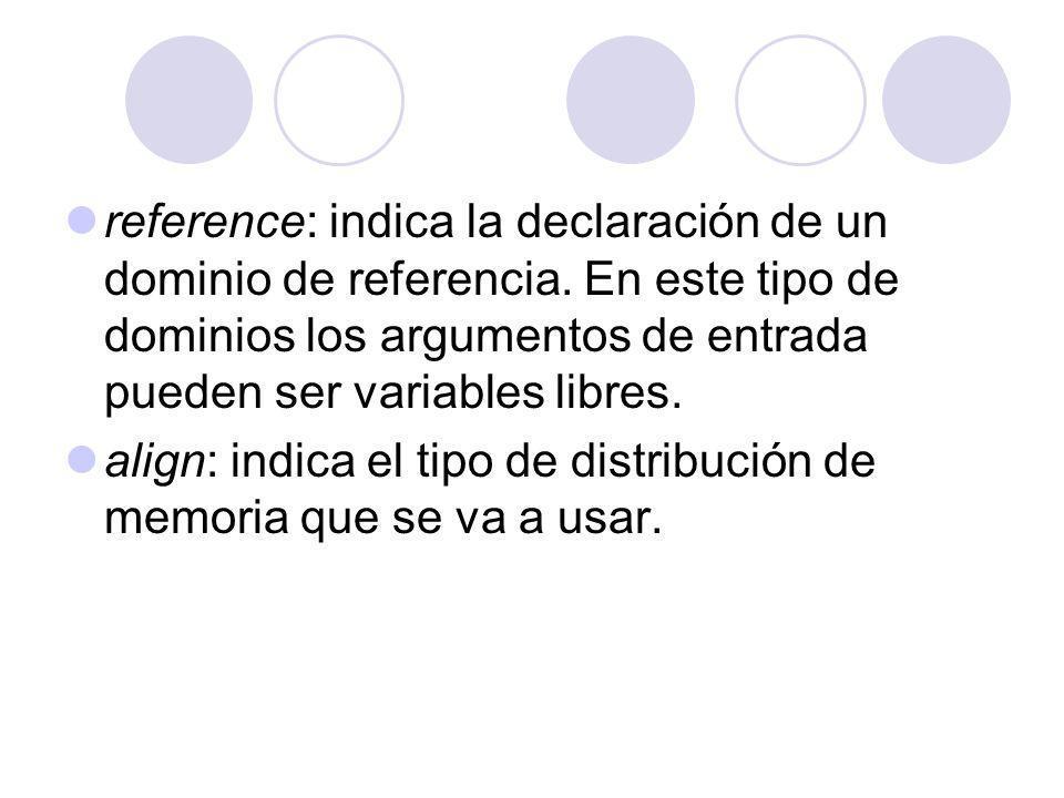 reference: indica la declaración de un dominio de referencia