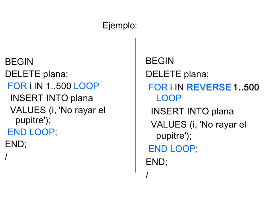 Ejemplo: BEGIN. DELETE plana; FOR i IN LOOP. INSERT INTO plana. VALUES (i, No rayar el pupitre );