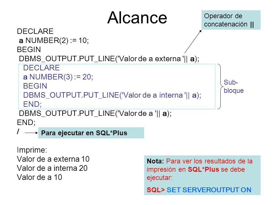 Alcance DECLARE a NUMBER(2) := 10; BEGIN