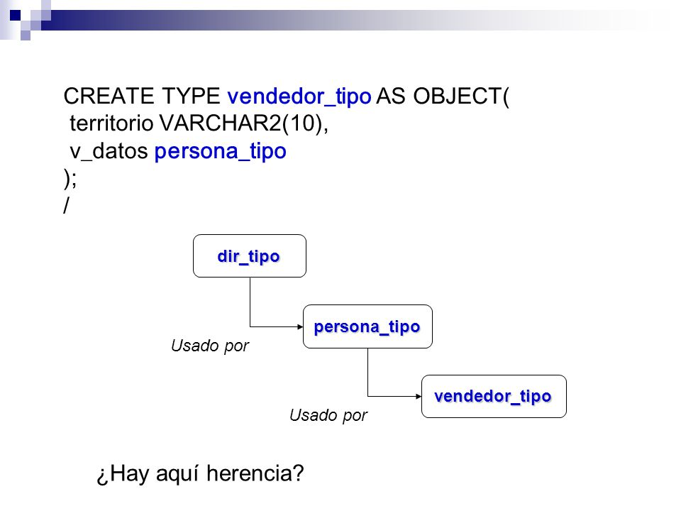 CREATE TYPE vendedor_tipo AS OBJECT( territorio VARCHAR2(10),