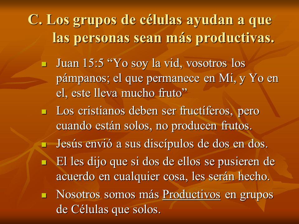 C. Los grupos de células ayudan a que las personas sean más productivas.
