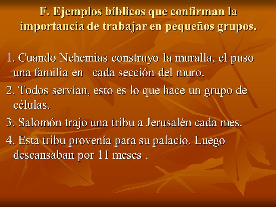 F. Ejemplos bíblicos que confirman la importancia de trabajar en pequeños grupos.