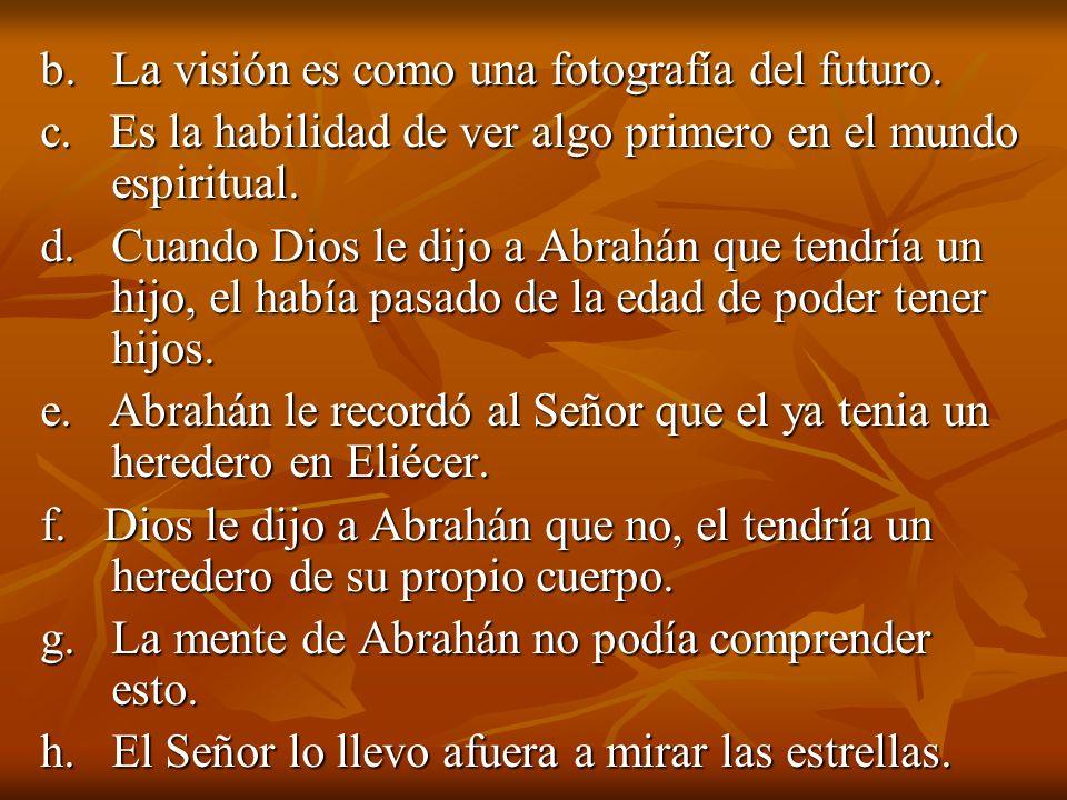 b. La visión es como una fotografía del futuro.