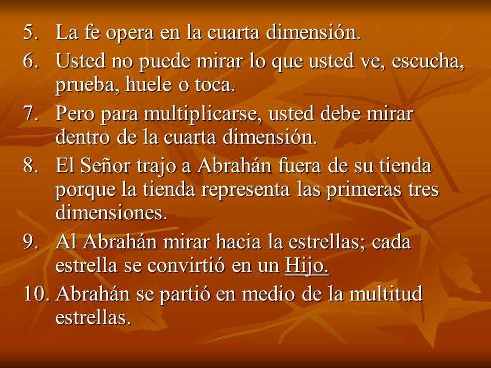 5. La fe opera en la cuarta dimensión.
