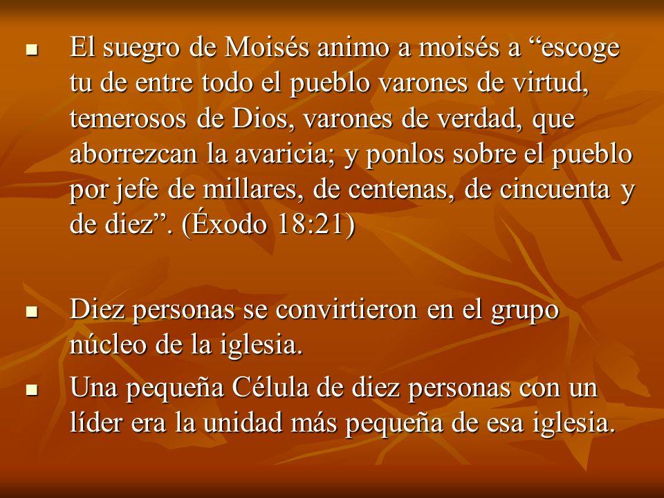 El suegro de Moisés animo a moisés a escoge tu de entre todo el pueblo varones de virtud, temerosos de Dios, varones de verdad, que aborrezcan la avaricia; y ponlos sobre el pueblo por jefe de millares, de centenas, de cincuenta y de diez . (Éxodo 18:21)