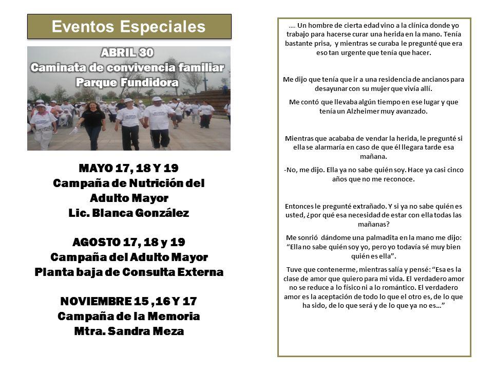 Eventos Especiales ABRIL 30 Caminata de convivencia familiar
