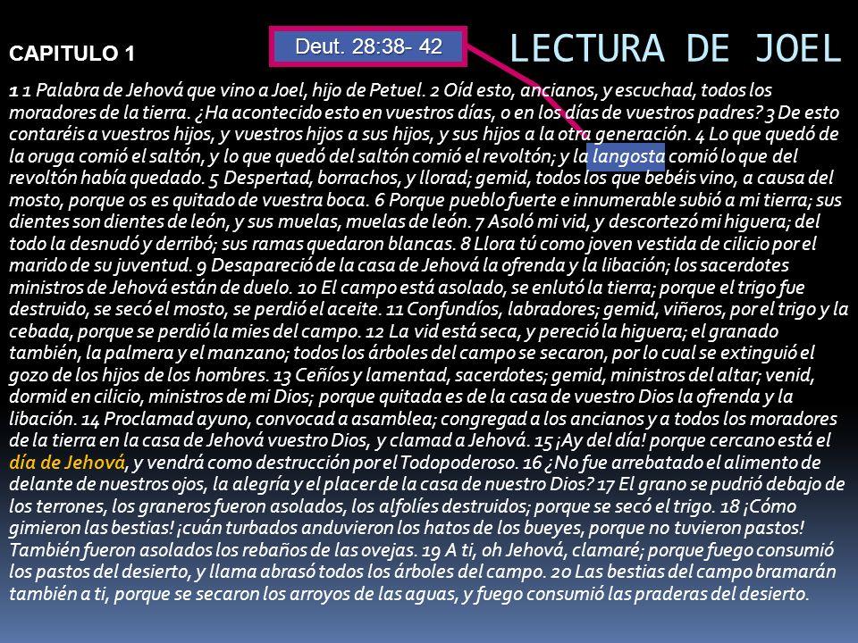 LECTURA DE JOEL Deut. 28:38- 42 CAPITULO 1