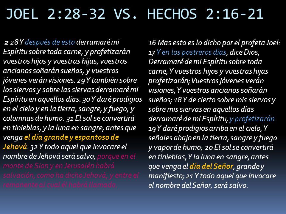 JOEL 2:28-32 VS. HECHOS 2:16-21