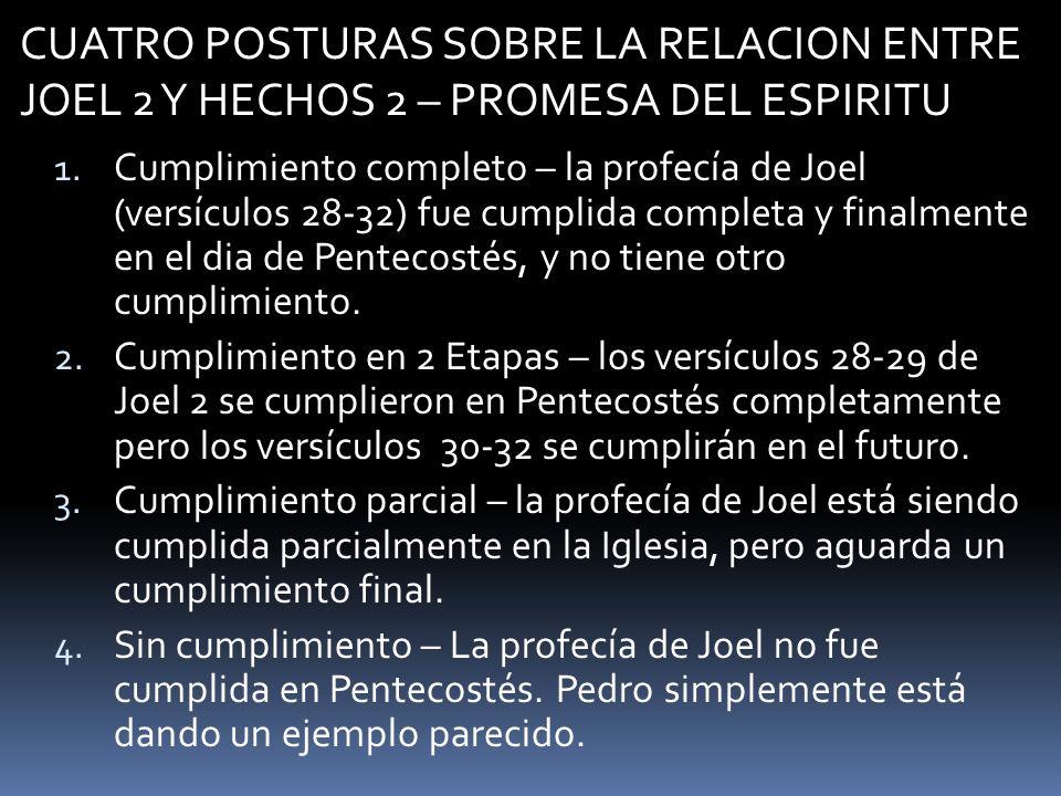 CUATRO POSTURAS SOBRE LA RELACION ENTRE JOEL 2 Y HECHOS 2 – PROMESA DEL ESPIRITU