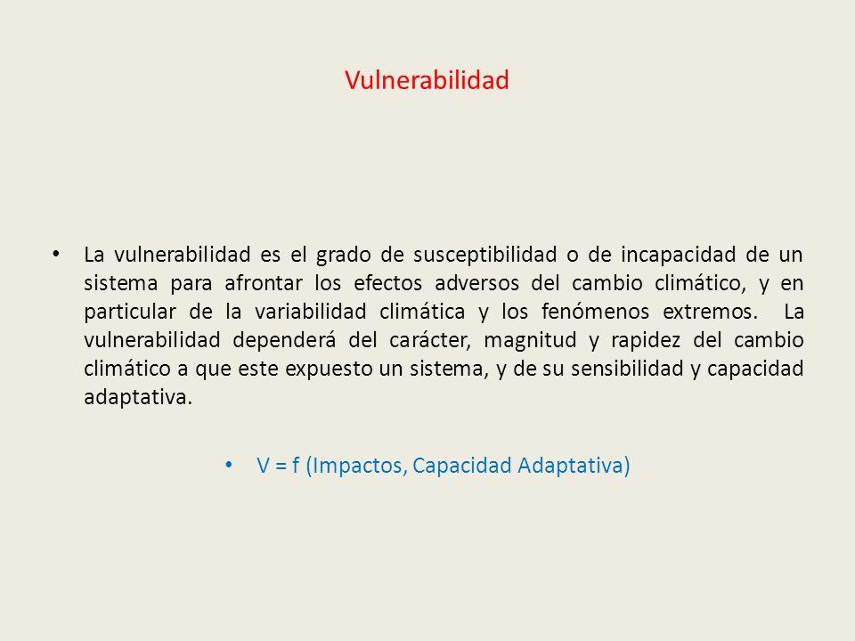 V = f (Impactos, Capacidad Adaptativa)