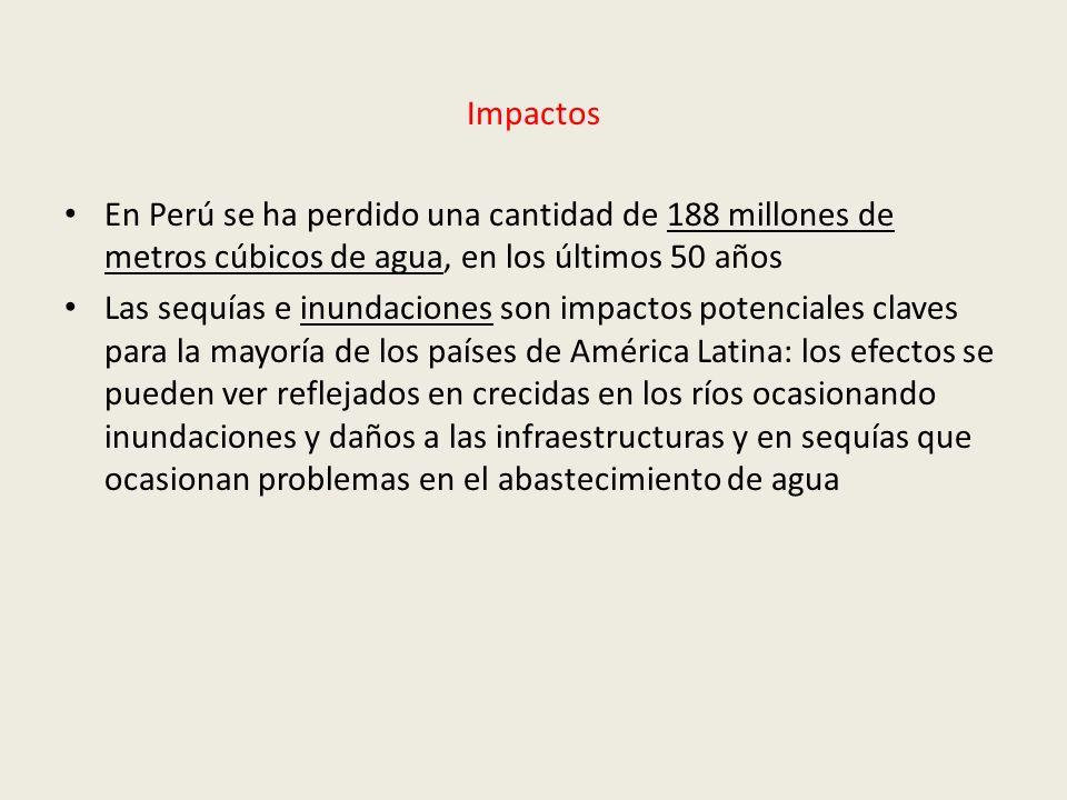 ImpactosEn Perú se ha perdido una cantidad de 188 millones de metros cúbicos de agua, en los últimos 50 años.
