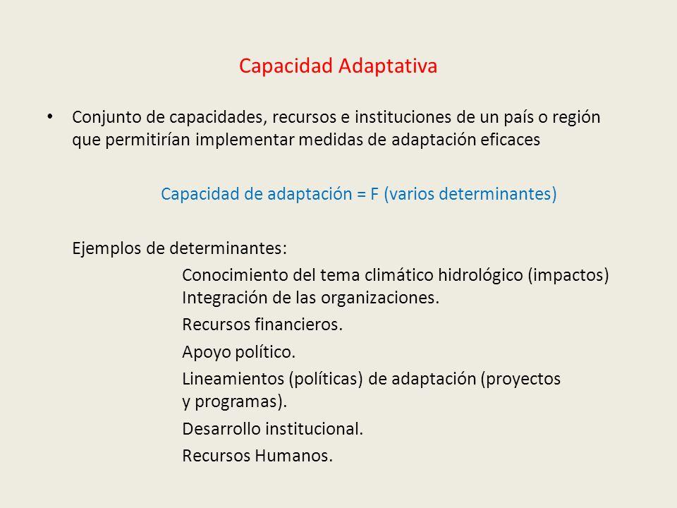 Capacidad Adaptativa Conjunto de capacidades, recursos e instituciones de un país o región que permitirían implementar medidas de adaptación eficaces.