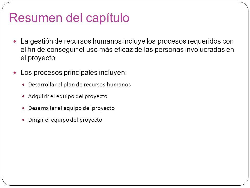 Gestión de los Recursos Humanos del Proyecto - ppt descargar