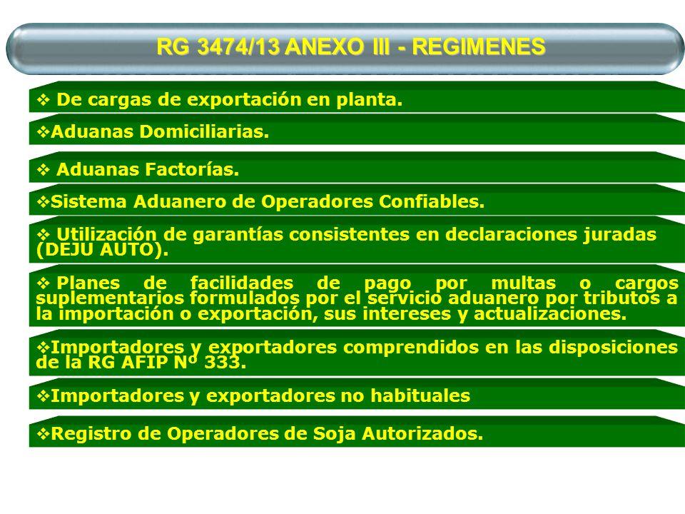 RG 3474/13 ANEXO III - REGIMENES