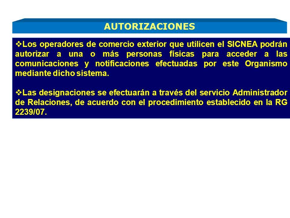 Los operadores de comercio exterior que utilicen el SICNEA podrán autorizar a una o más personas físicas para acceder a las comunicaciones y notificaciones efectuadas por este Organismo mediante dicho sistema.