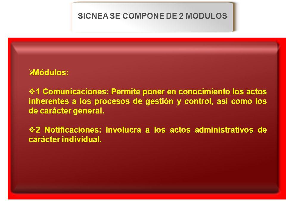 SICNEA SE COMPONE DE 2 MODULOS