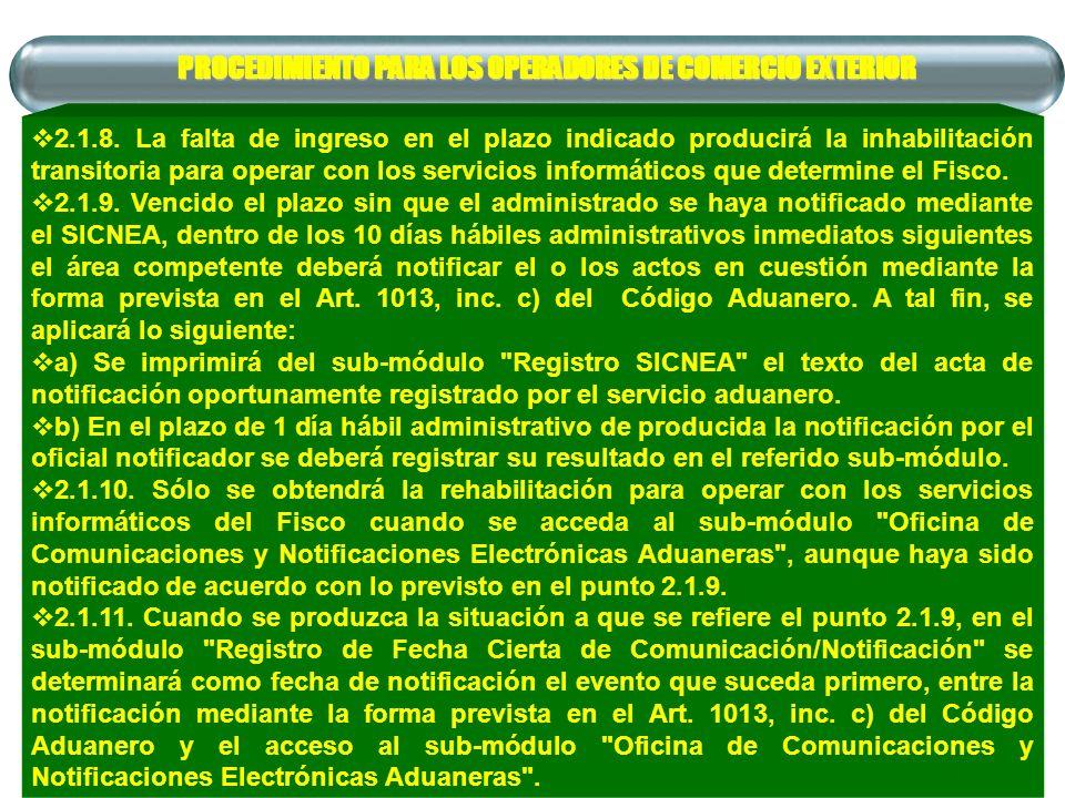 PROCEDIMIENTO PARA LOS OPERADORES DE COMERCIO EXTERIOR