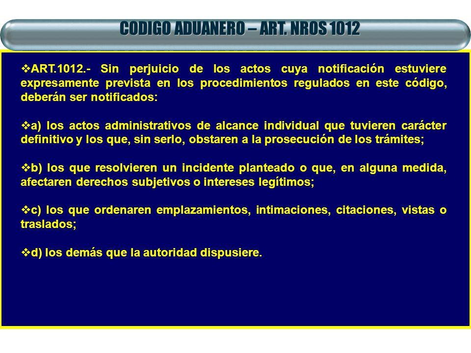 CODIGO ADUANERO – ART. NROS 1012