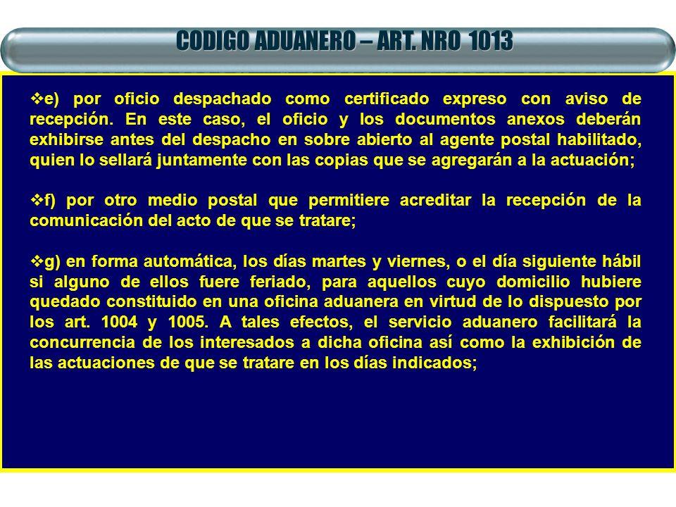 CODIGO ADUANERO – ART. NRO 1013