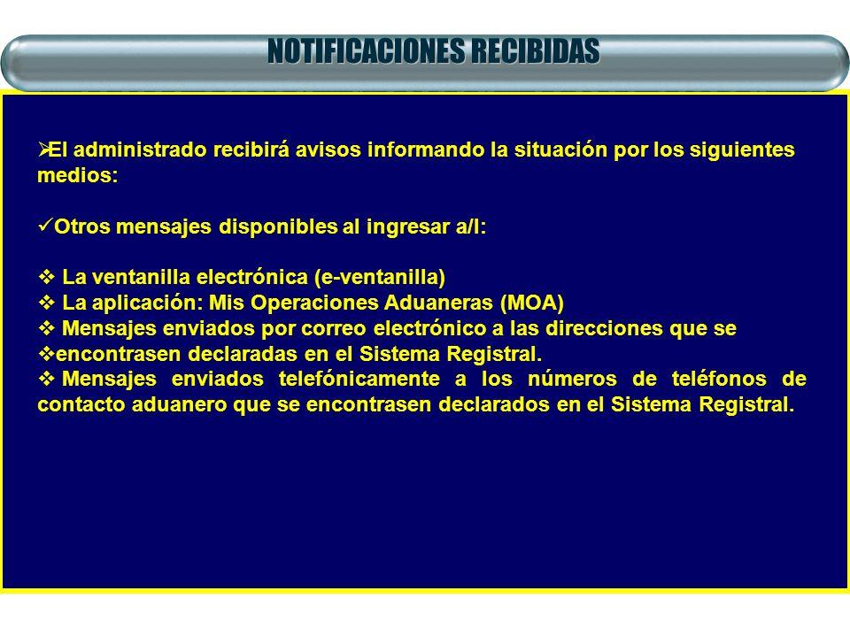 NOTIFICACIONES RECIBIDAS