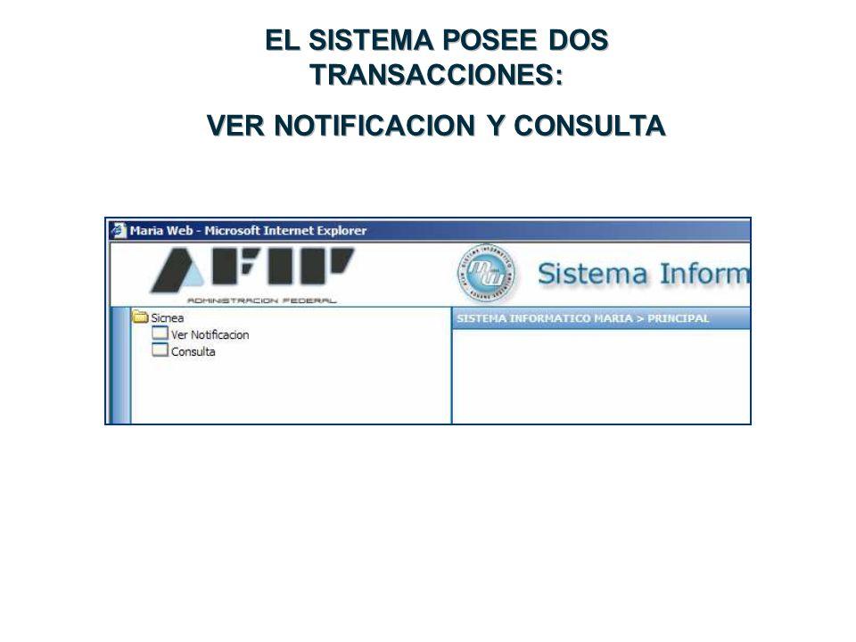 EL SISTEMA POSEE DOS TRANSACCIONES: VER NOTIFICACION Y CONSULTA