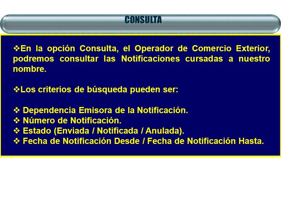 CONSULTA En la opción Consulta, el Operador de Comercio Exterior, podremos consultar las Notificaciones cursadas a nuestro nombre.