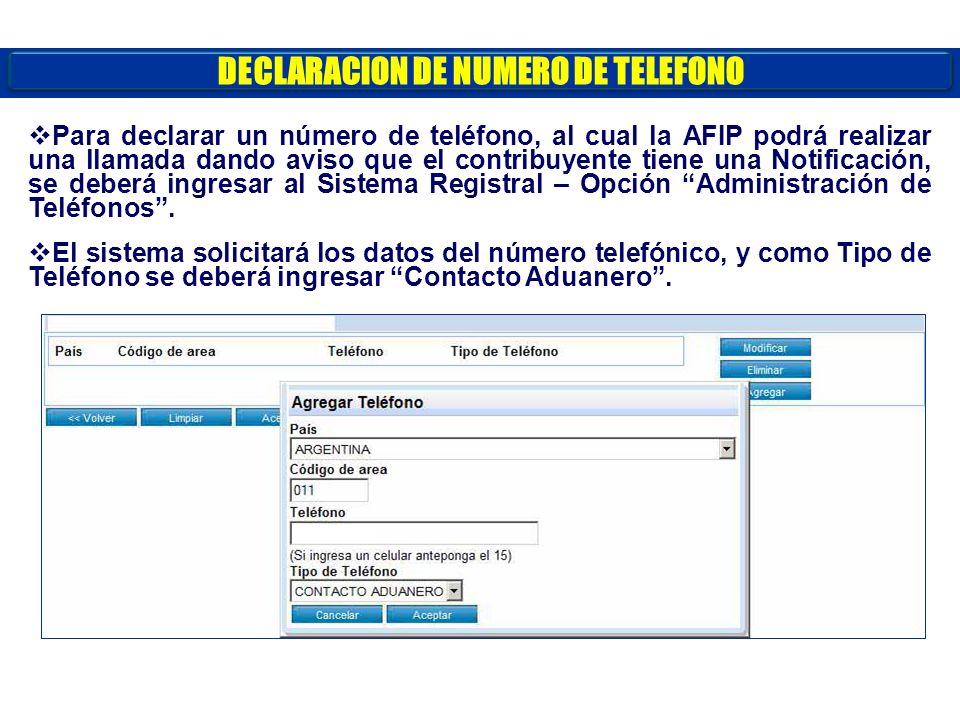 DECLARACION DE NUMERO DE TELEFONO