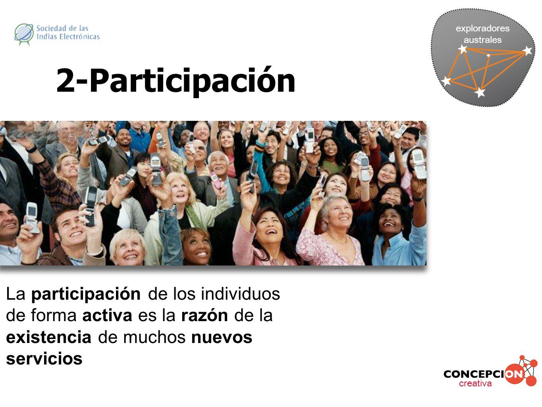 exploradores australes. 2-Participación. La participación de los individuos de forma activa es la razón de la existencia de muchos nuevos servicios.